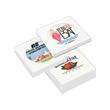 Ceramic Coasters in a Gift Box - One bone-colored stone ceramic coaster with cork base backing, custom imprint and gift box