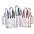 Clear Stadium Tote - Stadium tote features handle. Open top compartment.