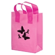 """Breast Cancer Awareness Pink Frosted Soft Loop - Flexo Ink - Breast Cancer Awareness Pink Frosted Soft Loop Plastic Shopping Bags with Insert (8""""x4""""x11"""")- Flexo Ink"""