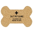"""Bone Cork Coaster - 100% naturally absorbent cork coaster that's 1/8"""" thick, made in the USA and shaped like a bone."""