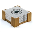 4 Piece White Marble Coaster Set - Marble Coaster Set With Stand.