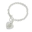 Sterling Silver Bracelet with Emblem Charm - Sterling silver bracelet.