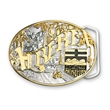 2-Tone Classic Belt Buckle (3 x 4 in) - Custom shape 2-Tone classic belt buckle.