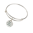 """Adjustable Bangle with Charm - An adjustable bangle style bracelet in gold tone or silver tone with up to a 1"""" die struck charm attached."""