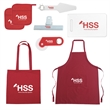 Housewarming Kit - Kit Includes: tote bag, pot holder (x2), cotton apron, bag clip, cutting board, pizza cutter/bottle opener, party buddy.
