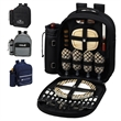 Picnic Backpack for 4 with Cooler - Fully equipped picnic backpack cooler for four that's made of 600 denier polycanvas