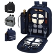Picnic Backpack for 2 with Cooler - Fully equipped picnic backpack for two with leak-proof cooler compartment and nickel hardware