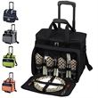 Picnic Set for 4 with Cooler on Wheels - Leak-proof picnic cooler bag with removable wheeled cart and service for four