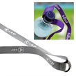 Basic Water Bottle Holders - Polyester lanyard with an expandable rubber o-ring water bottle attachment.