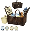 Buckingham Picnic Basket for Four - Picnic set for four in a hand crafted willow picnic basket with blanket and coffee service options