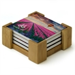 4 Piece Absorbent Coaster Set with Bamboo Stand - 4 piece coaster set with bamboo stand.