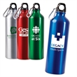 25 oz. Aluminum Alpine Bottle - 25 oz. aluminum water bottle with black leak-proof, screw-down lid and mini metal carabiner attached.