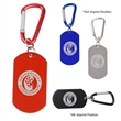 Dog Tag on Carabiner - Aluminum dog tag with carabiner attached