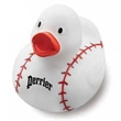 Baseball Rubber Duck - White rubber duck with red baseball stitching.