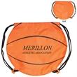 GameTime!® Basketball Drawstring Backpack - Basketball themed drawstring backpack with adjustable soft black nylon shoulder strap that doubles as a drawstring closure.