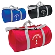 Budget Barrel Duffel - Polyester, barrel-shaped duffel bag with zippered main compartment, side open pocket, carry handles and adjustable strap.