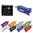USB Car Adapter - Travel USB mobile phone charger made of ABS plastic with bright blue indicator light.