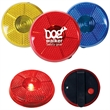 Round Flashing Button - Round shaped button with sturdy clip for attachment and blinking light.