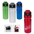 24 oz. Aluminum Water Bottle with Flip-Up Lid - 24 oz. single wall aluminum water bottle with multi-function screw-on lid with flip-up mechanism and carry loop.