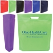 "Die Cut Handle Trade Show Non-Woven Tote - Nonwoven tote bag with die-cut handle and 2"" gusset."