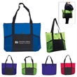 Jumbo Trade Show Tote - Large tradeshow tote bag made of polyester with zipper closure, nylon web handles and multiple pockets.