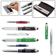 Executive 3-in-1 Metal Pen Stylus with LED Light - Aluminum, multi-function pen with stylus, black ink ballpoint and bright LED light.
