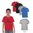 Gildan® Heavy Cotton™ Classic Fit Youth T-Shirt - Classic fit youth tee shirt made of 100% cotton, 5.3 oz. preshrunk jersey knit fabric.