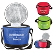 """Round Lunch Cooler - 6"""" x 8"""" round polyester cooler with 2mm PE foam, foil lining, zippered compartment, front pocket and web strap/carry handle."""