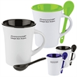 10 oz. Two-Tone Ceramic Mug with Matching Spoon - 10 oz. ceramic mug with two-tone design and a matching spoon in the handle.