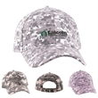 Digital Camo Structured Baseball Cap (6 Panel) - Structured, 6-panel cotton hat with camouflage design, adjustable fabric strap and hook and loop fastener adhesive tab closure.
