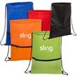 Texture Pocket Non-Woven Drawstring Backpack - Non-woven drawstring backpack with textured, zipper pocket and adjustable soft vinyl shoulder strap.