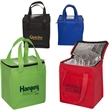 Non-Woven Cubic Lunch Bag with ID Slot - 80 GSM non-woven square lunch bag with aluminum foil insulated lining.