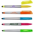 Highlighter Pen with Stylus - Multi-function twist pen with stylus, highlighter and removable translucent colored cap