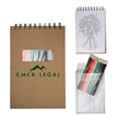 """Notebook with Color Pencils - Spiral bound drawing set with notebook and colored pencils in a PVC pouch that measures 5.43"""" W x 8"""" H"""