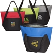 Lunch Size Cooler Tote - Insulated polyester tote bag with zipper closure, handles and front open pocket