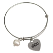 Freshwater Pearl Expanding Bracelet - Expanding silver rhodium-plated bracelet with freshwater pearl and heart charm.