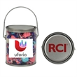 """Clear Pail with Taffy - Clear pail (5"""" x 5 5/8"""" x 4 1/4"""") with salt water taffy"""
