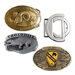 Belt Buckle, Custom Die-Cast - Custom Die cast zinc custom belt buckles. Detailed sculptural relief and custom shape.