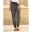 Boxercraft Women's Flannel Tailgate Joggers - Double-brushed cotton flannel joggers with an elastic waistband and drawcord, rib cuffs, and no pockets.