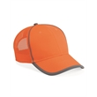 Outdoor Cap Safety Mesh-Back Cap - Mesh back cap in safety orange or yellow with reflective binding and hook-and-loop closure.