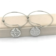 Wire Bangle Bracelet With Silver Charm - Wire Bangle Charm Bracelet with Round Silver Charm.
