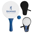The Cabo Paddle Ball Set - Outdoor paddle game, includes 2 wooden paddles and a rubber ball.