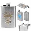 Stainless Steel Flask 4 oz - Hip flask made of stainless steel with a hinged screw-on top and a 4 oz. capacity.