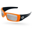 2-Tone Wrap Mirror Sunglasses w/ 1-color imprint - Quality PC Wrap sunglasses with mirror UV400 impact resistant PC lenses.