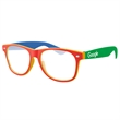 4-Tone Retro Glassesw/ 1-color imprint - Quality PC Retro sunglasses with clear UV400 impact resistant PC lenses.