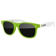 2-Tone Foldable Retro Sunglasses w/ 1-color imprint - Quality PC Retro sunglasses with dark UV400 impact resistant PC lenses.