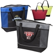 Porter Insulated Cooler Tote - Polyester insulated tote bag with zippered compartment, front pocket, web handles and hook and loop fastener closure