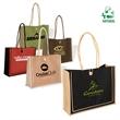 Milan Jute Tote - Jute tote bag with cotton rope handles, button loop closure.
