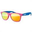2-Tone Retro Mirror Sunglasses w/ 1-color imprint - Quality PC Retro sunglasses with mirror UV400 impact resistant PC lenses.