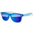 2-Tone Retro Mirror Sunglasses w/ 1-color imprints - Quality PC Retro sunglasses with mirror UV400 impact resistant PC lenses.